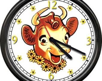 Borden's Elsie The Cow Dairy Farm Cows Farmer Kitchen Butter Milk Sign Wall Clock