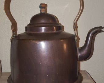 Antique Wasserbergs Boras Copper Kettle / Vintage Kitchen / made in Sweden / beautiful dovetail spoit and design