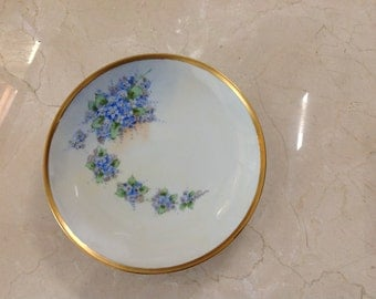 Nippon Gold Rimmed Plate Hand Painted Moriage blue flowers