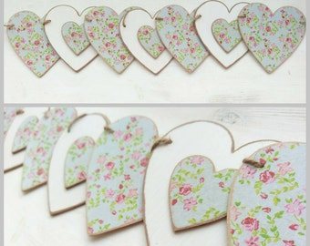 Floral wooden bunting. Cath Kidston style pattern.