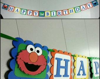 3D Sesame Street Inspired Happy Birthday Banner