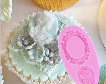 Mirror Lady Camafeo Mold Fondant Cake Decorating Tools Frame Cupcake Wedding Decoration Silicon Mold Baking Tool Kitchen Use VINTAGE
