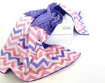 Baby Blanket ,Purple Minky Blanket ,Baby and Toddler Blanket , Baby Girl Blanket
