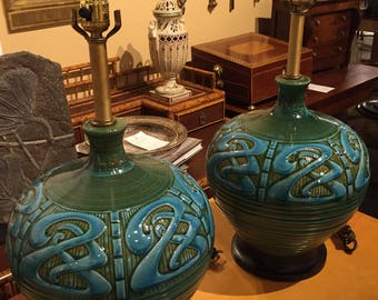 Pair of mid century ceramics table lamps