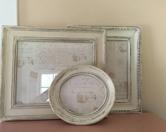 Antique White, Collection of 3 Shabby Chic, Cottage, French Country, Frames
