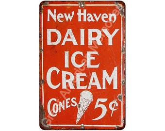 Old New Haven Dairy Ice Cream Cones Vintage Look Reproduction Sign 8x12 8120149