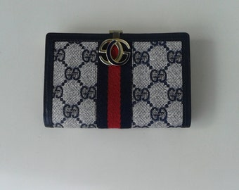 Sale !!! Gucci vintage navy blue GG monogram wallet