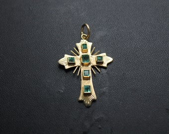 50% Off-18K yellow gold Cross with Emeralds