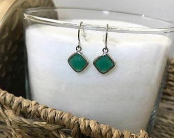 Palace green pendant earrings