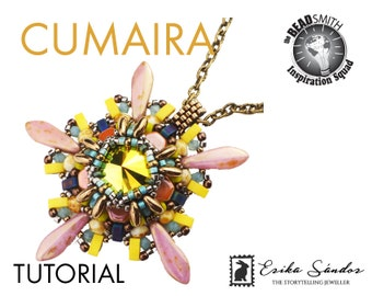 Cumaira pendant - instant download for the beadwork pdf instructions / pattern / schema / tutorial w rivoli honeycomb rizo dagger half tila
