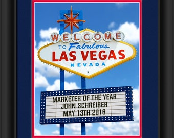 Personalized Las Vegas Sign 13x16 Matted And Framed Photo