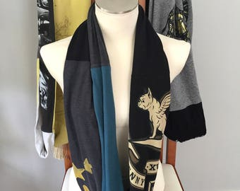 Artsy Women's Scarf  Black n Teal Scarf  Handmade OOAK Upcycled Cotton Infinity Scarf, One Wrap Gift For Her  Stars scarf Doggie with wings