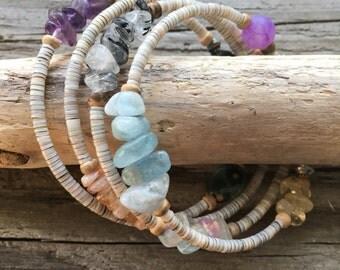Gemstone Memory Wire Bracelet