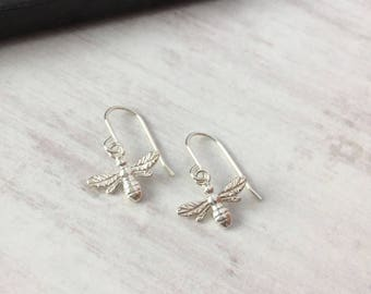 Bee Earrings/SterlingSilver Bee Earrings/Bee/Hook Earrings/Sterling Silver/Hook/Everyday Wear/Gift/UK