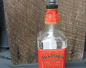 Recycled Jack Daniels Fire Whiskey Bottle, Tiki Jack Daniels Bottle, Deck Bottle, Porch Bug Bottle