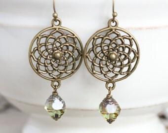 Medallion Earrings - Green Earrings, Flower Earrings, Bronze Earrings, Dangle Earrings, Boho Earrings, Bohemian Jewelry, Everyday Earrings