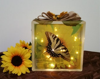 Beautiful Sunflower and Butterfly Glass Block with Burlap Bow