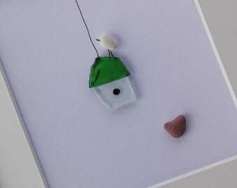 Pebble art birds, Birds cage, home decor, unique gift, birds art, sea glass art, sea glass picture