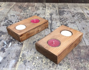 Recycled tealight holders (pair)