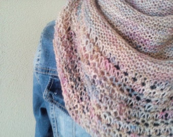 Spring pastel colors handknit lace shawl/wrap/cowl/shoulderwarmer *ready to ship*