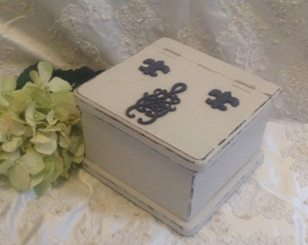 Recipe Box Wooden Vintage Antique White Hand Painted Recipe Box with  Fleur de lis