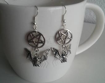 Pentagram bat earrings