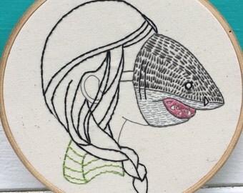 Complete Beginner Embroidery Kit, Beginner Embroidery Kit, Shark Girl or Boy