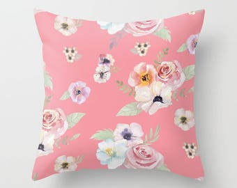 Throw Pillow - Watercolor Floral I - Bright Pink - Square Cover 16x16 18x18 20x20 24x24 - Insert Optional