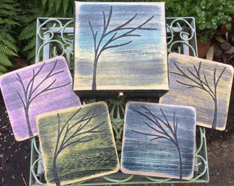 Colorful Trees Coasters Set - Hand Carved and Painted Coasters & Matching Wood Box