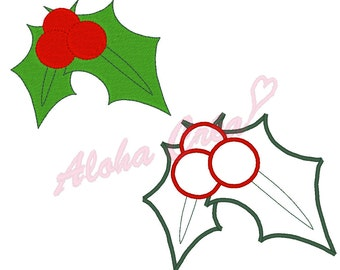 Machine Embroidery Design christmas holly + applique (many sizes) - Instant Digital Download