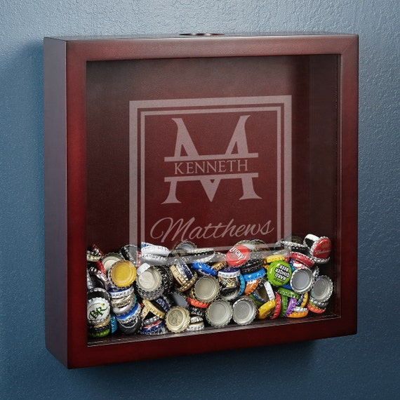 Beer cap collector shadow box with oakhill design a unique for Craft beer typography beer cap shadow box beer cap collector