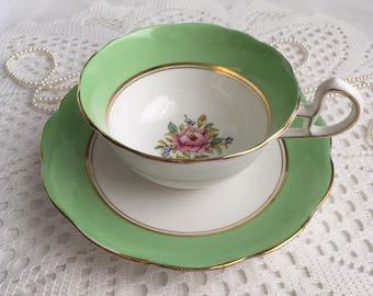 reserved Bell China Tea Cup and Saucer, Lovely Light Green with Hand Painted Pink Rose Centres