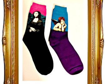 Artsy Art Socks,Trouser Socks,Klimt's The Kiss,Mona Lisa,Raphael's Cherub,Hot Colors,Art Teacher,Artist,Teacher,Gift for Women. Teachers