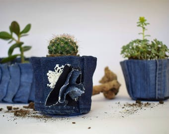 Very cute conical denim blue planter,recycled denim flower pot,upcycled jeans planter with decoration,denim decoration