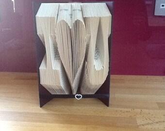 I love (heart) you folded book art.