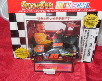 1995 Edition Racing Champions NASCAR Diecast 1:64 Scale Dale Jarrett Stock Car with Collectors Card and Display Stand