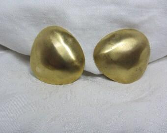 Vintage Oversized Brushed GT Geometric Clip Earrings