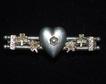 Antique Silver Love Sweetheart Brooch c.1900