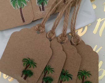 Tropical Tags, Gift Tag, Favor Tag, Thank You Tag, Party Favor Tags, Party Decor, Labels, Palm Trees labels, Palm Trees Decor, Palm Trees Ta