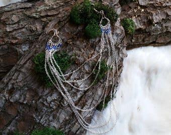 Earrings, Bellydance, LARP, Orient, Blue, Silver, Filigree, Princess, Lady, Vintage, Elve, Fairy, Fee