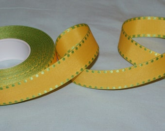25 mm woven yellow/green ribbon- 2 metres-Easter decoration