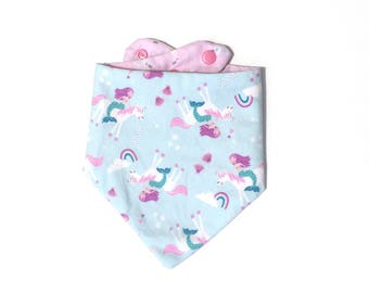 Mermaid and Unicorn Bibdana, Reversible Bibdana, Mermaid Drool Bib, Unicorn Drool Bib, Water Resistant Bib, Bandana Bib