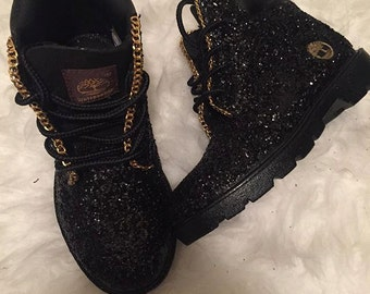 customized black timberland boots
