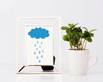 Rainy Cloud Cross Stitch Pattern Instant Download Rainy Day Weather Pattern Cloud Embroidery Chart Simple Design Minimalist Decor Rain