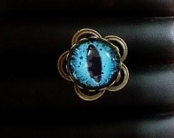 Adjustable Ring - Bronze Flower Base, Blue Glass Dome Coloured Eye/Snake Eye
