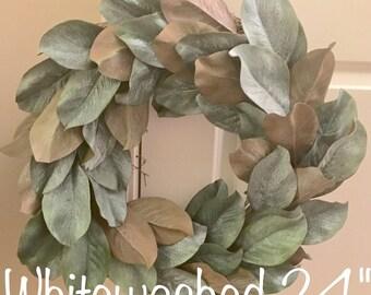 Magnolia Wreath, Farmhouse Wreath, Fixer upper decor, Whitewashed magnolia wreath