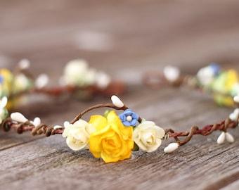 Spring Flower Crown - Summer Wedding Crown - Wedding Hair Crown - Yellow Hair Crown -  Light Blue Bridal Floral Halo - Flower Girl Crown