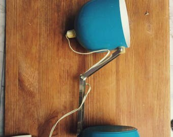 Vintage desk lamp. Mid century desk lamp.  Blue desk lamp. Table lamp
