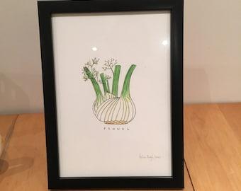 Fennel - Garden Vegetable Print (unframed) A4