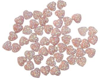 SET of 20 14mm Pink Resin Heart flatback Scrapbooking/Crystal Bling Studded Gem Rhinestone Heart Cabochons